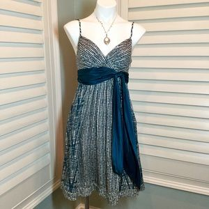 BCBG MAXAZRIA Silk Teal Dress, 2